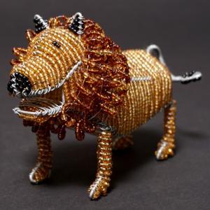 アフリカ ケニア ワイヤーアート ビーズアニマル (ライオンB)針金アート アフリカ雑貨 置物|bogolanmarket