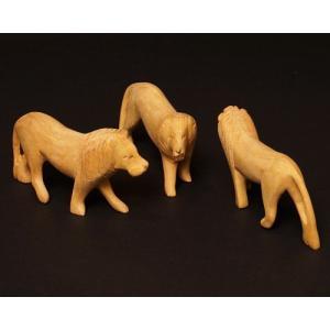 アフリカ ケニア ライオン 木彫り 置き物 人形|bogolanmarket