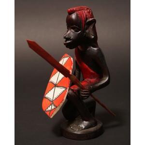 アフリカ ケニア マサイ戦士 木彫り 置き物|bogolanmarket