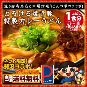 カレーうどん 焼き豚有名店のカレーうどん お試し1食 (麺大盛り2人前) 送料無料 (セット パック)|bokunotamatebakoya