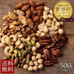 ミックスナッツ 世界のミックスナッツ 無添加・無塩 500g (250gx2) 8種のナッツ サチャインチ ピスタチオ ピーカン 訳あり 送料無料|bokunotamatebakoya