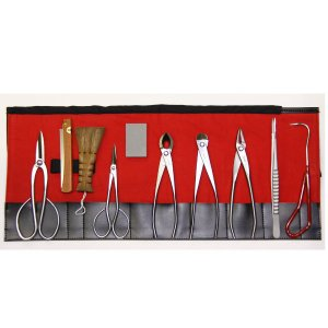 3049ステンレス盆栽10点セット/Stainless steel bonsai tool set 10pc