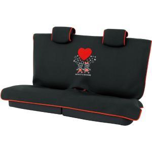 【Mickey Minnie Heart】軽・普通車・後席用フリーサイズシートカバー『ミッキーミニーハート』 枕カバー3枚セット ブラック|bonsan