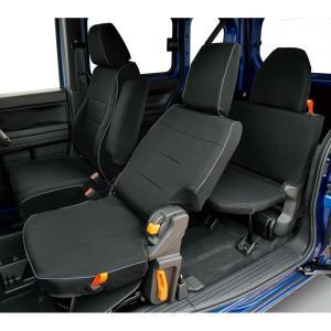[JJ1/JJ2]ホンダ[N-VAN]専用撥水加工布シートカバー防水効果!【車1台分フルセット】M4-68 ブラック/黒 工具不要|bonsan