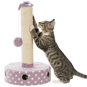 [ドイツTRIXIE] 猫 爪とぎ スクラッチポール 【1つで3機能!おもちゃ ポンポン猫じゃらし + 鈴入りピンボール 2個付】じゃれて遊べる キャットタワー bonvoyage
