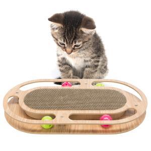 [ドイツTRIXIE] 猫 爪とぎ スクラッチボード 両面使えるエコ設計【1つで2機能】おもちゃ 鈴入りピンボール 4個付き [ドイツTRIXIE] じゃれて遊べる つめとぎ bonvoyage