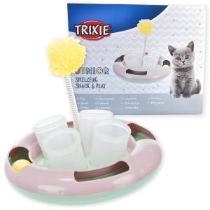 [ドイツTRIXIE] 猫 UFO型 おもちゃ【1つで3機能!猫じゃらしポンポン + おやつカップ + ゆらゆらボール】3色パステルカラー 電池不要 / 外箱入 ギフトにも最適 bonvoyage
