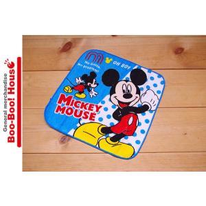 ミニタオル プチタオル ハンカチ ディズニー ミッキーマウス ブルー 水玉 #7|booboohouse