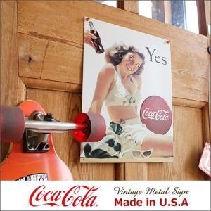 コカ・コーラ Yes White Suit メタル・サイン ブリキ看板 Made in USA/10...