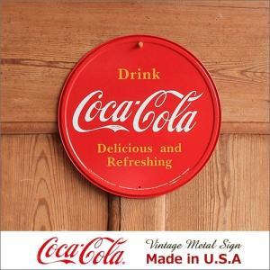 コカ・コーラ COKE Button Logo メタル・サイン ブリキ看板 Made in USA/...