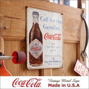 コカ・コーラ Call for Genuine メタル・サイン ブリキ看板 Made in USA/...
