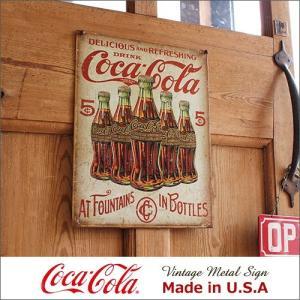 コカ・コーラ 5 Bottle Retro メタル・サイン ブリキ看板 Made in USA/20...