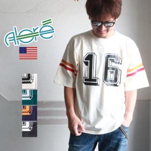 ALORE アローレ 配色袖ライン HAWAII 16 ナンバリングフットボールTシャツ 5分袖|boogiestyle