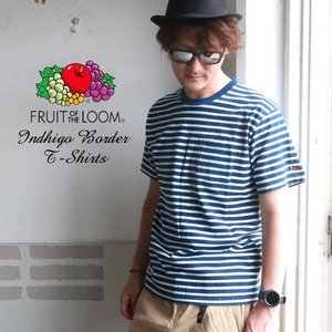 FRUIT OF THE LOOM フルーツオブザルーム ヴィンテージ インディゴボーダー半袖Tシャツ|boogiestyle
