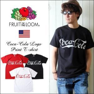 FRUIT OF THE LOOM コカ・コーラ BIGロゴプリント 半袖クルーネックTシャツ メンズ アメカジ ccrs3|boogiestyle