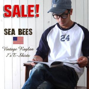 Sea Bees ヴィンテージ・ラグラン アメカジ7分袖Tシャツ  メンズ アメカジ