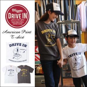 Tシャツ DRIVE IN アンティーク・ターンテーブル アメカジプリント Tシャツ|boogiestyle