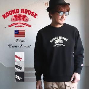 ROUNDHOUSE ラウンドハウス USAコットン ヘビーウェイト裏毛クルーネックスウェット A柄 メンズ アメカジ|boogiestyle
