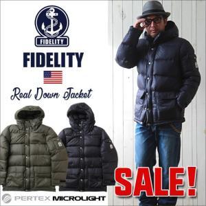 ダウンジャケット FIDELITY ダウン90% パーカーダウンジャケット メンズ アメカジ 送料無料 冬物