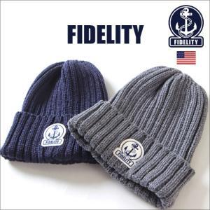 ニット帽 FIDELITY フィデリティ マリンロゴ ニットキャップ メンズ アメカジ|boogiestyle