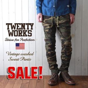 TWENTY WORKS ヴィンテージウォッシュ カモ柄WOODLAND スウェットパンツ メンズ アメカジ|boogiestyle