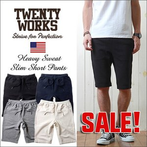 TWENTY WORKS ヘビー・裏毛スウェット スリムフィットショートパンツ メンズ アメカジ|boogiestyle