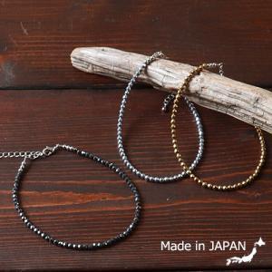 普通郵便送料無料 ヘマタイト ブラス 32面カット カラーコーティング アンクレット 日本製|boogiestyle
