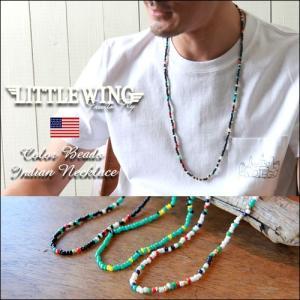 普通郵便送料無料 ネックレス LITTLE WING マルチカラービーズ エスニックネックレス LW372|boogiestyle