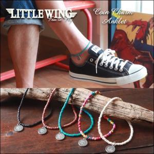 普通郵便送料無料 アンクレット LITTLE WING クラフトビーズ コインチャーム アンクレット アメカジ|boogiestyle