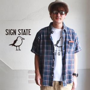 54e4cab0ba0a24 チェックシャツ SIGN STATE インディゴ染め パナマ 半袖 ビッグシャツ サインステート アメカジ サーフ