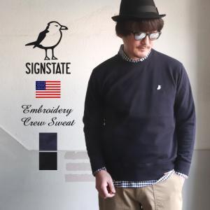スウェット メンズ トレーナー SIGN STATE  サインステイト ウミネコ刺繍 スタンダードス...