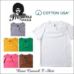 PRESTONS/ソフト&ライト/CottonUSA/半袖Tシャツ/6カラー/アメカジ/メンズ boogiestyle