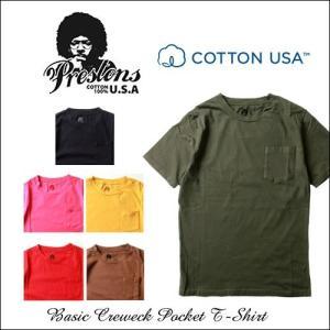 PRESTONS/ソフト&ライト/CottonUSA/ポケ付半袖Tシャツ/6カラー/アメカジ/メンズ boogiestyle