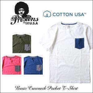 PRESTONS/ソフト&ライト/CottonUSA/ポケット切替え半袖Tシャツ/4カラー/アメカジ/メンズ boogiestyle