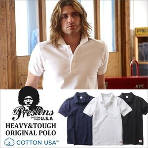 ポロシャツ PRESTONS COTTON USA ヘビー鹿の子ポロシャツ 3カラー プレストンズ メンズ アメカジ|boogiestyle