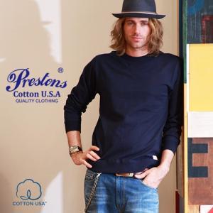 PRESTONSヘビー&タフ COTTON USA クルーネックリブ付きロングTシャツ 4カラープレ...
