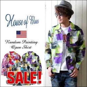 HOUSE OF BLUES ハウスオブブルース ランダム・ペインティング 長袖オープンシャツ メンズ アメカジ 2018春 新作|boogiestyle