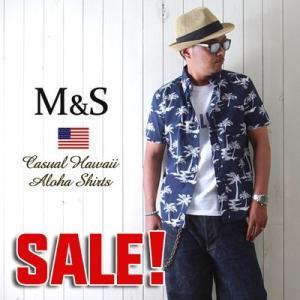 M&S コットン100% カジュアルアロハシャツ メンズ アメカジ