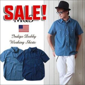 M&S インディゴ・ドビー織り 半袖ワークシャツ メンズ アメカジ 冬物