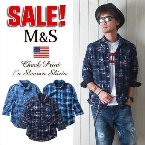 M&S インディア・コットン チェックプリント 7分袖シャツ メンズ アメカジ