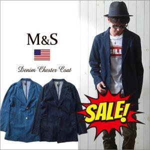 M&S スラブデニム・2ボタンチェスターコート メンズ アメカジ 送料無料 冬物