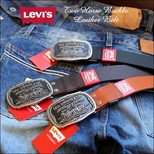 リーバイス Levi's Strauss&Co. ツーホースバックル 本革 レザー ベルト メンズ アメカジ|boogiestyle