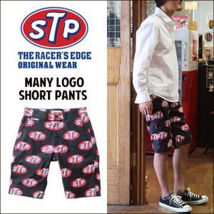 ショーツ STP オリジナル ブラック 総柄ロゴ ショートパンツ アメカジ メンズ|boogiestyle