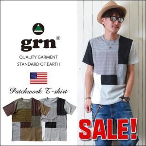 grn 異素材MIXパッチワーク クルーネック半袖Tシャツ メンズ アメカジ|boogiestyle