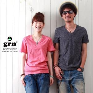 Tシャツ grn カラー杢 VネックTシャツ ユニセックス メンズ アメカジ|boogiestyle