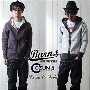 BARNS 日本製 COZUN吊り編み 裏ワッフル・リバーシブルZIPパーカー メンズ アメカジ 送料無料 boogiestyle