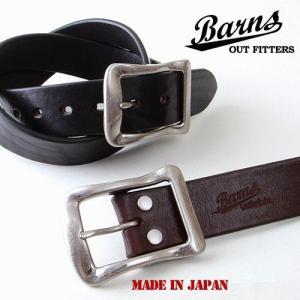 BARNS 栃木レザー 日本製 本革ベルト SILVERバックル BR4168 アメカジ メンズ アメカジ 送料無料|boogiestyle