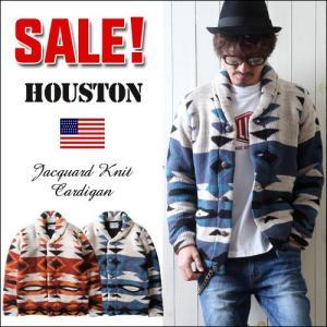 HOUSTON ネイテイブジャガード ショール襟 カウチンニットカーディガン メンズ アメカジ 送料無料|boogiestyle