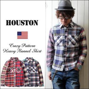 HOUSTON クレイジーパターン ヘビー・ネルチェック 長袖ワークシャツ メンズ アメカジ|boogiestyle