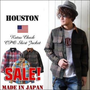 HOUSTON 日本製 レトロ・チェック ウール混CPOシャツ ジャケット メンズ アメカジ 送料無料|boogiestyle